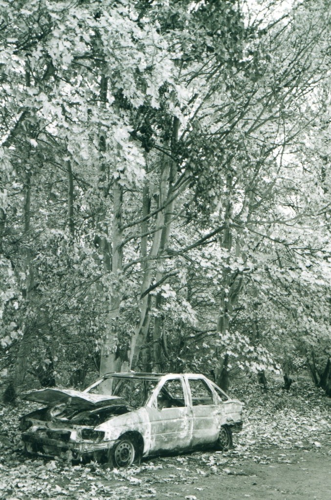 Photo of a burned out car I took in 2001 in Essex, UK