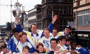 Leeds United parade the championship trophy in 1992
